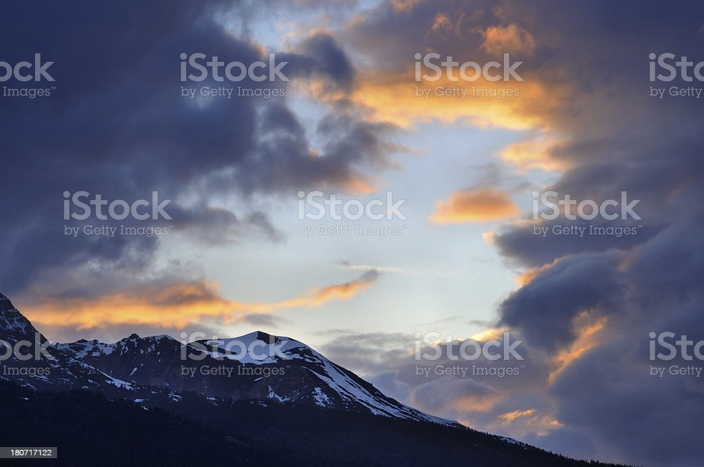 Twilight landscape with dramatic sky and mountains in Canadian Rockies royalty-free stock photo