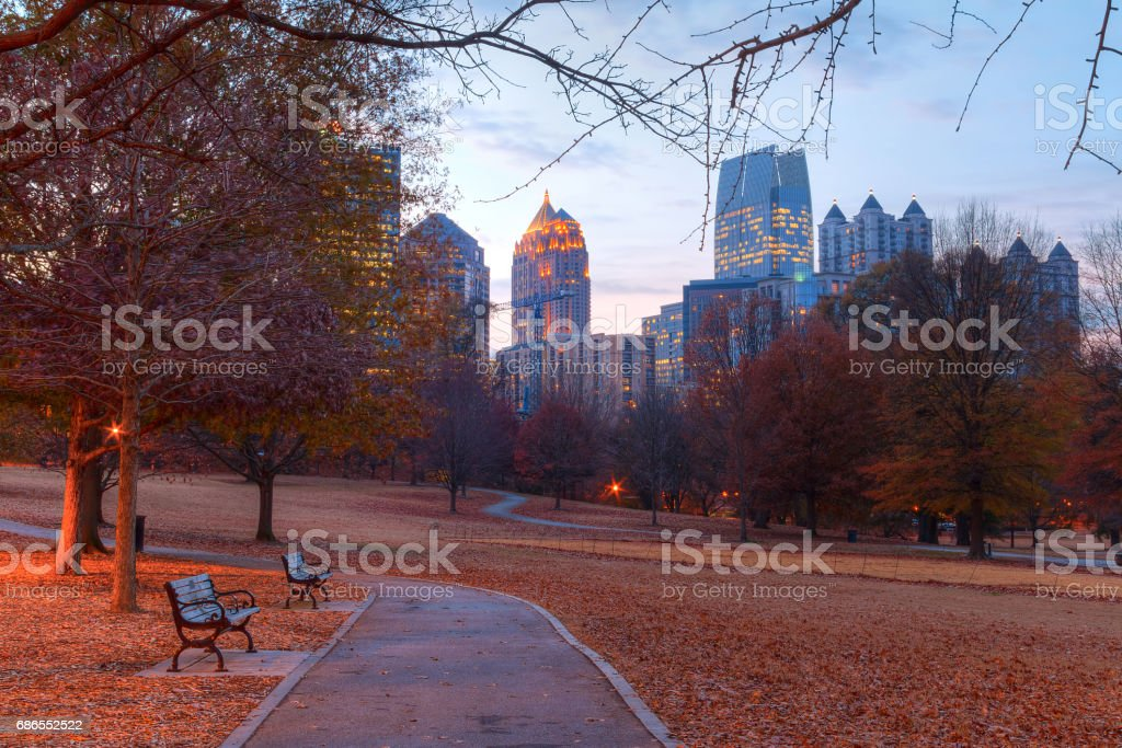 Twilight Midtown Atlanta and Oak Hill in Piedmont Park, USA royalty-free stock photo
