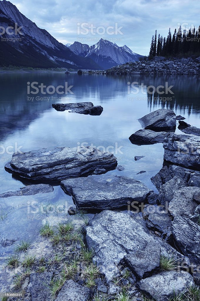 Twilight mountain landscape with Medicine Lake in Canadian Rokies royalty-free stock photo