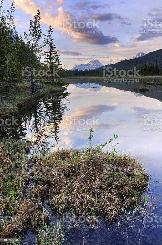 Twilight mountain landscape with reflection in lake, Canadian Rokies royalty-free stock photo