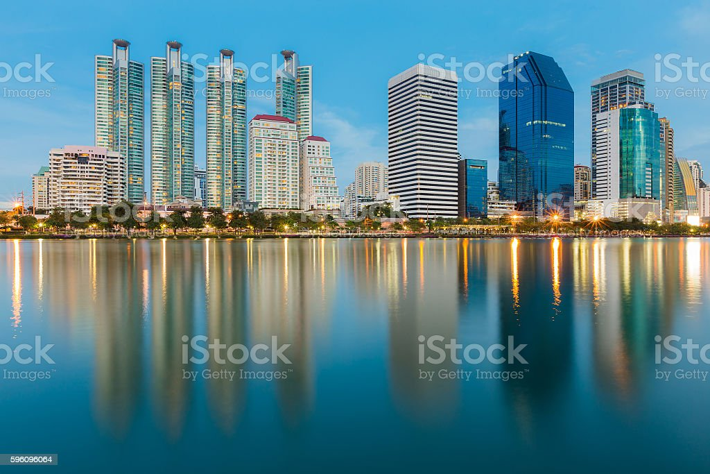 Twilight, office building with reflection royalty-free stock photo