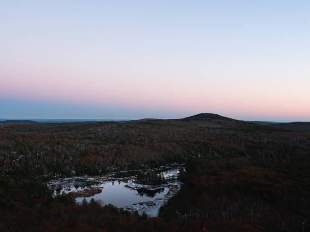 Twilight on Binney Pond, New Ipswich New Hampshire stock photo