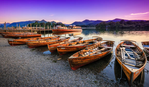Twilight on Derwentwater stock photo