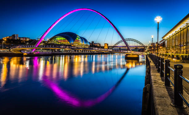 twilight on newcastle quayside - gateshead stock photos and pictures
