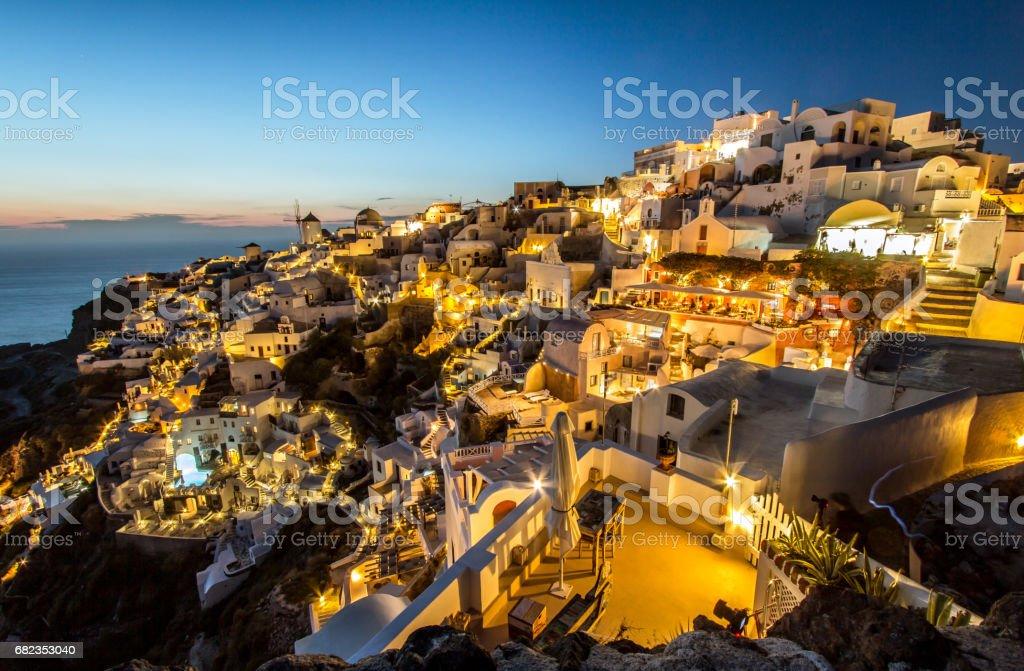 Twilight on Santorini, Greece royalty free stockfoto