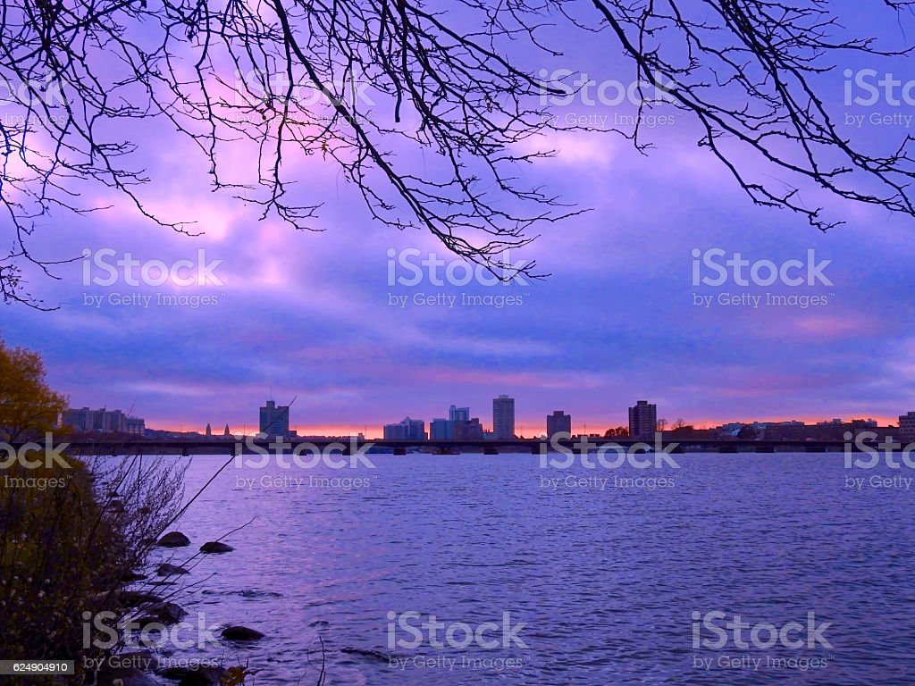 Twilight on the Charles stock photo