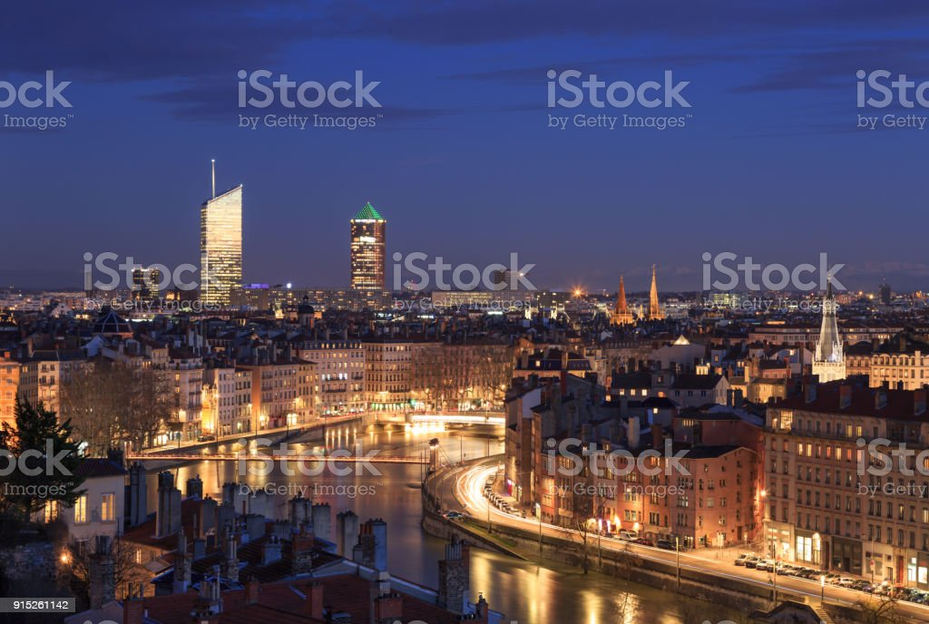 Twilight over Lyon stock photo