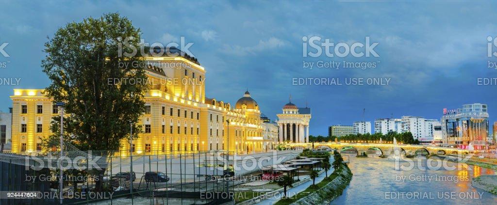 Twilight panorama of National theater in Skopje, Macedonia stock photo