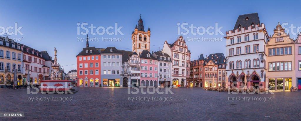 Twilight panorama of the historic city of Trier, Rheinland-Pfalz, Germany stock photo