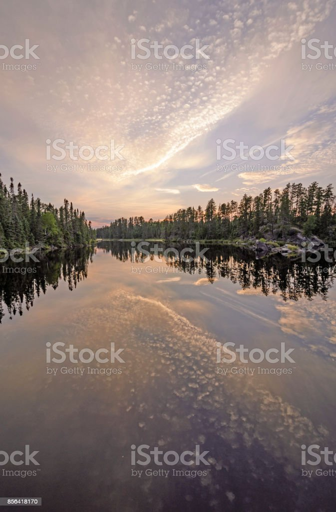 Twilight Reflections in the North Woods stock photo