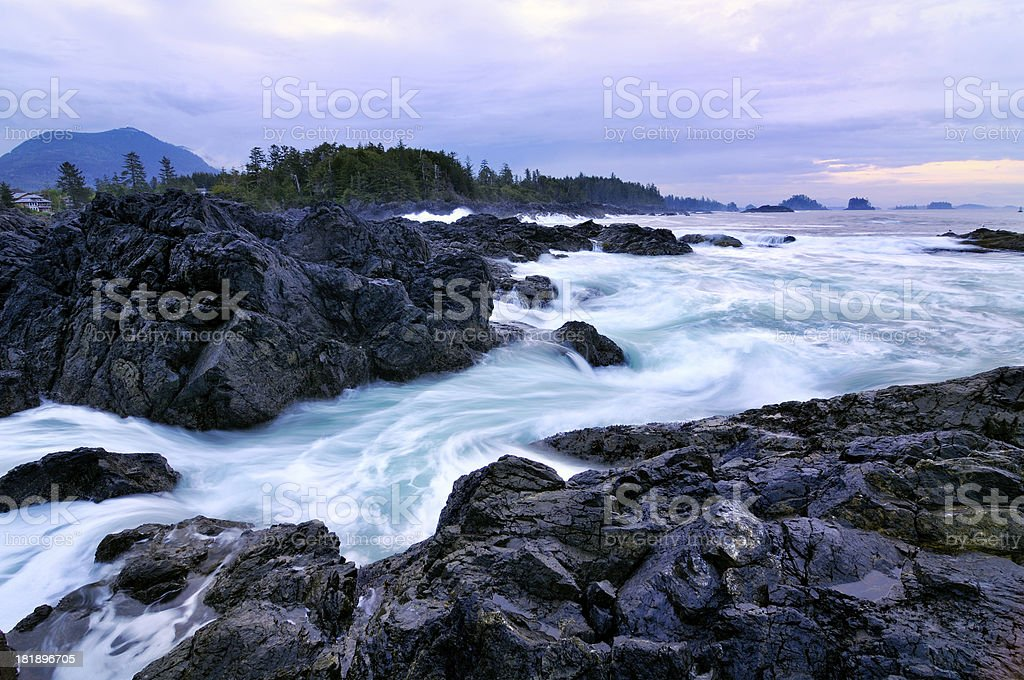 Twilight rocky seascape at Vancouver Island royalty-free stock photo