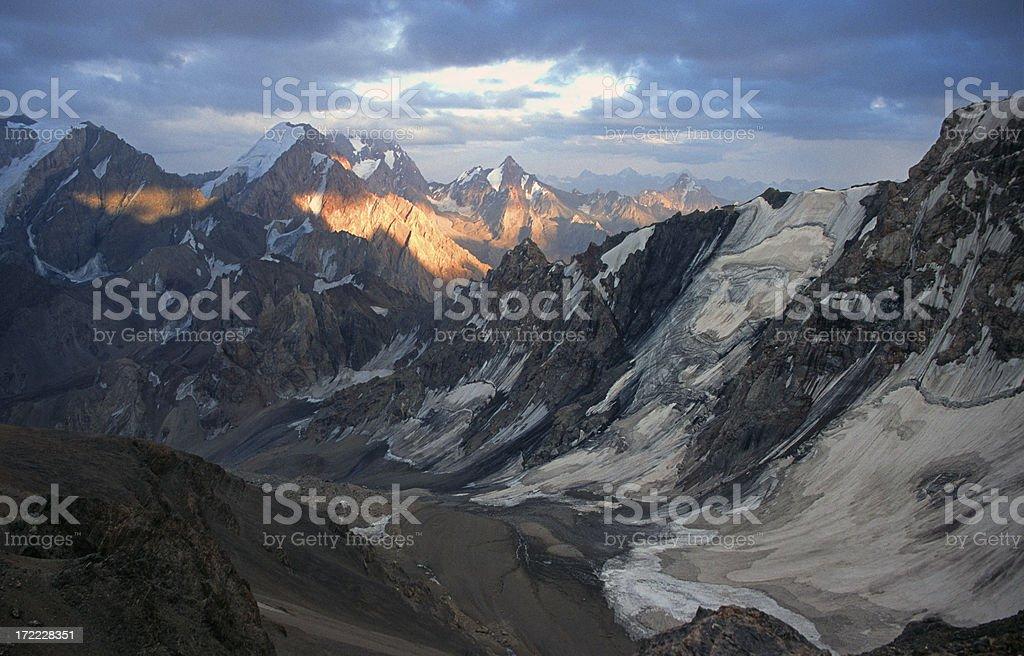Twilight scene over the Pamir Mountains stock photo