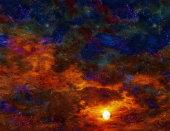 Twilight Scene. Vivid sunset