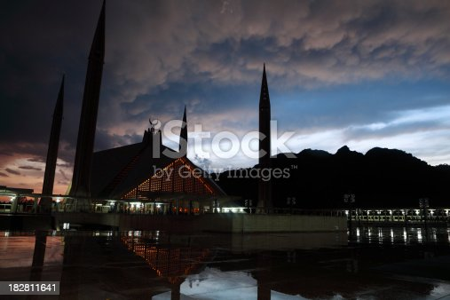The Faisal Mosque after sunset in Islamabad is the largest mosque in Pakistan and South Asia and the sixth largest mosque in the world.