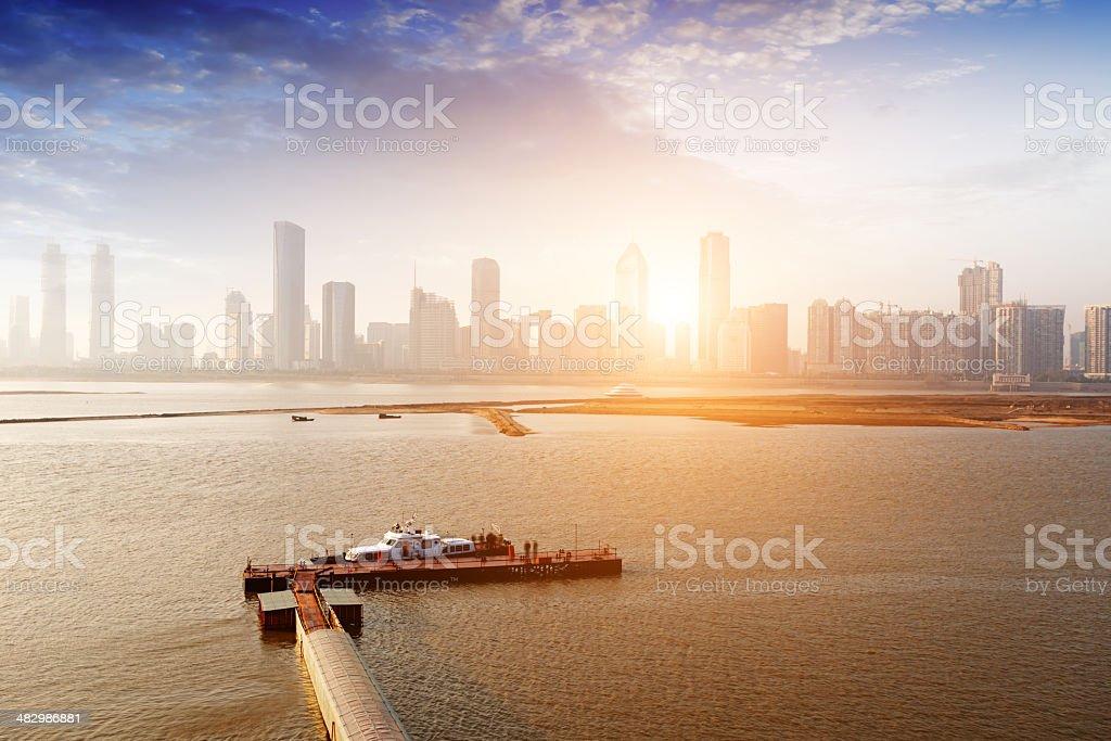 Twilight Shanghai China, rivers and small cruise ships. stock photo