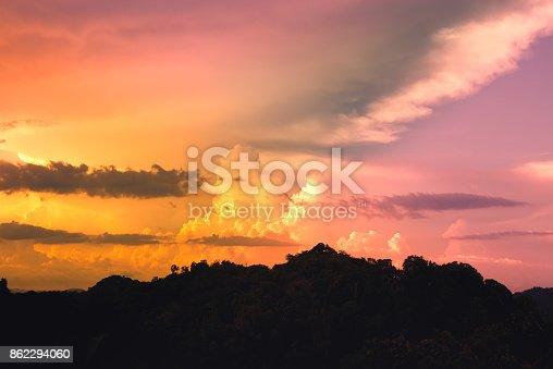 istock Twilight sky over the mountain. 862294060