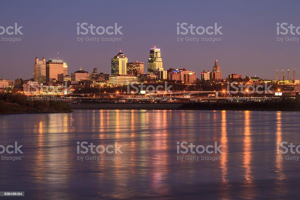 Twilight Skyline of Kansas City stock photo