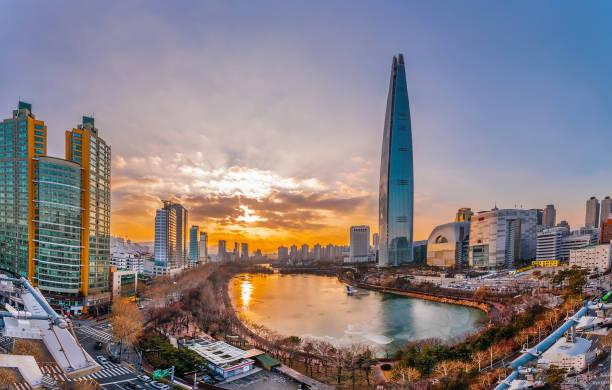 韓国ソウル漢江で黄昏サンセット - ソウル ストックフォトと画像
