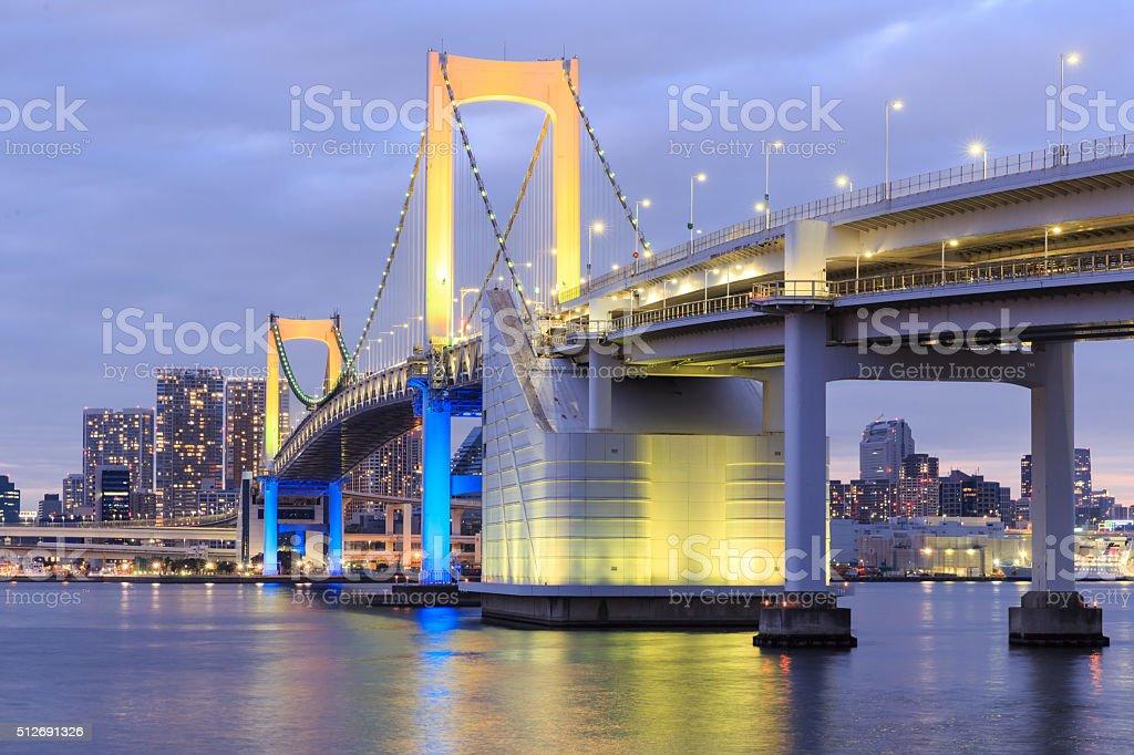 Twilight Tokyo landmarks,Tokyo Rainbow bridge stock photo