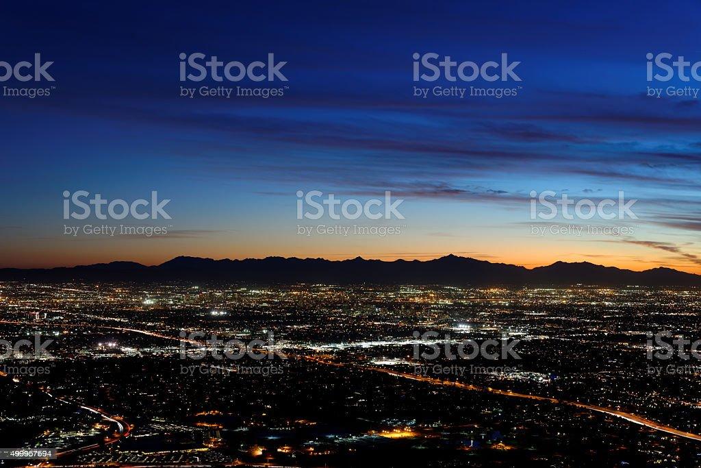 Twilight view of city lights in Phoenix, AZ stock photo