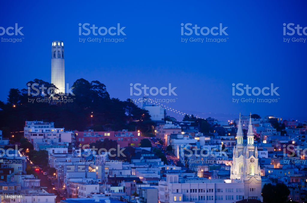 Twilight view of Coit Tower in San Francisco, Ca stock photo