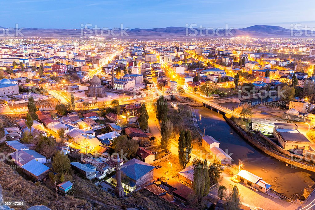 Twilight view of Kars city through the castle of Kars stock photo