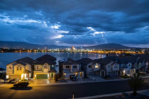 Twilight View of Reno from Sparks Marina stock photo