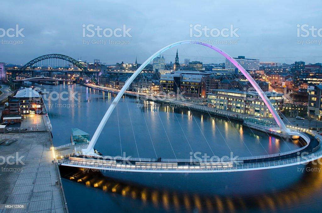 Twilight with The Gateshead Millennium Bridge in Newcastle, UK stock photo