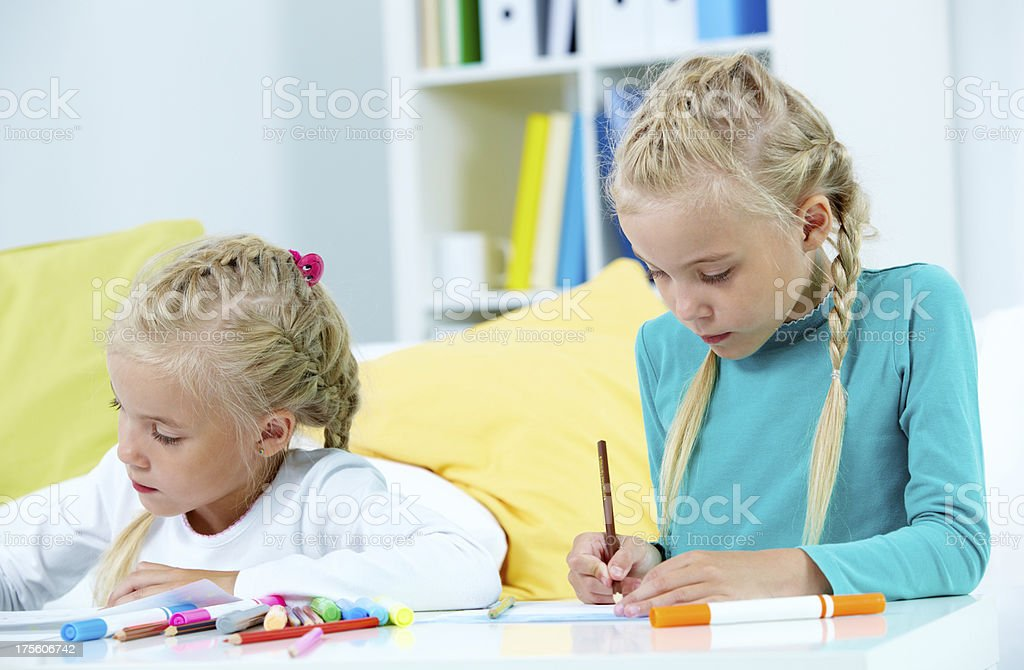 Twin artists royalty-free stock photo