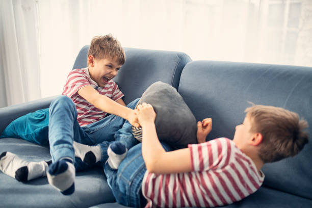 Twin boys fighting at home What started as innocent pillow fight now is getting serious. Two little brothers are fighting at home. Nikon D850 brother stock pictures, royalty-free photos & images