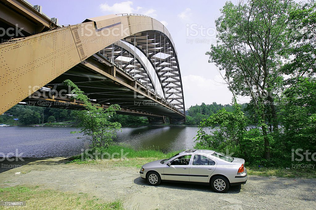 Twin Bridge - Albany, NY stock photo