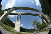 Twin bridge crossing a valley in Italian Alps