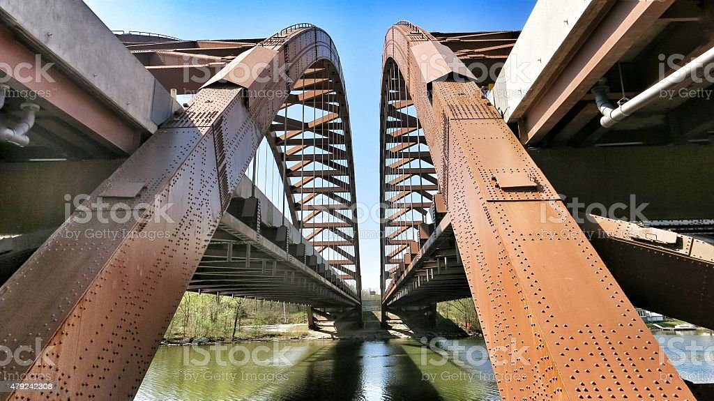 Twin Bridges Over the Mohawk River, Adirondack Northway, Albany, NY - Royalty-free 2015 Stock Photo