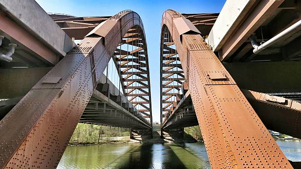 Twin Bridges Over the Mohawk River, Adirondack Northway, Albany, NY stock photo