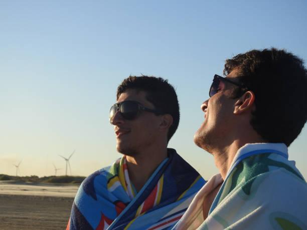 zwillingsbrüder lächelnd - siamesische zwillinge stock-fotos und bilder