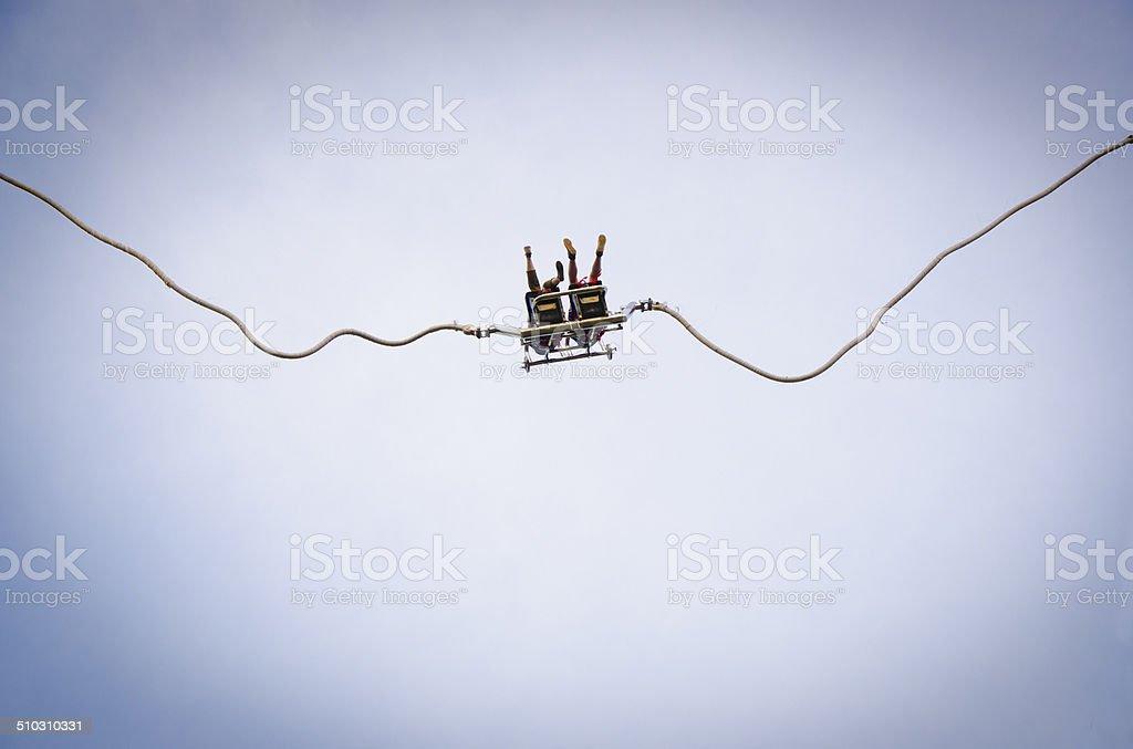 twin bungee jumping stock photo