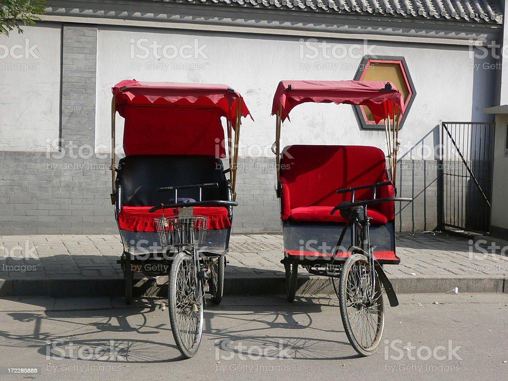 Twin Chinese Rickshaw stock photo