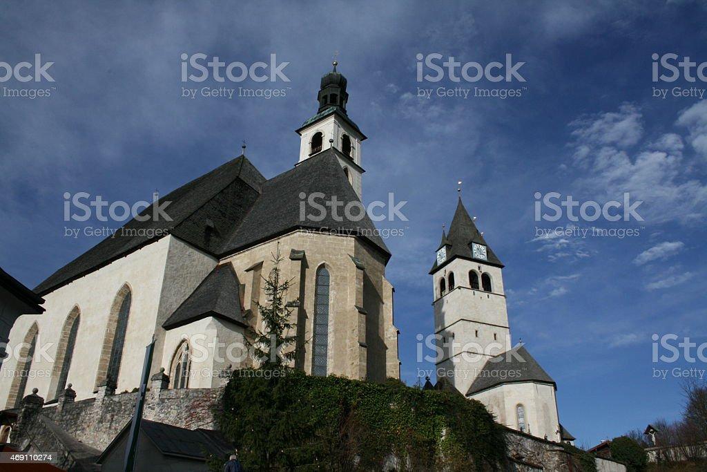 Twin Churches in Kitzbuhel, Austria stock photo