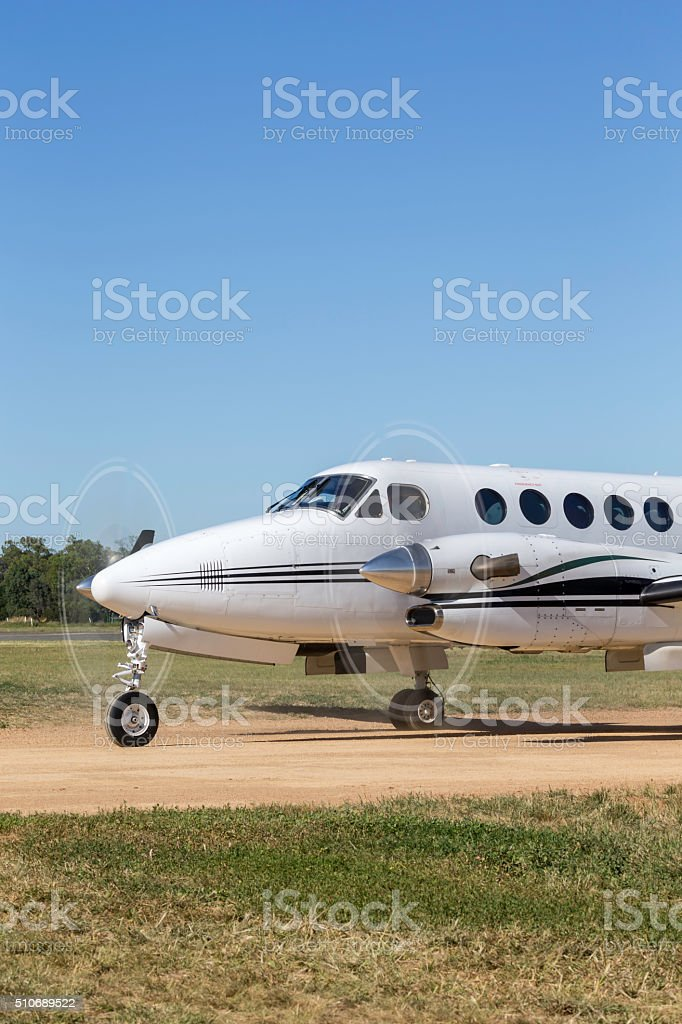 Twin engined passenger aircraft stock photo