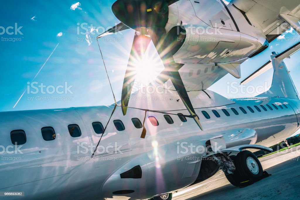 Twin engined turboprop aircraft stock photo