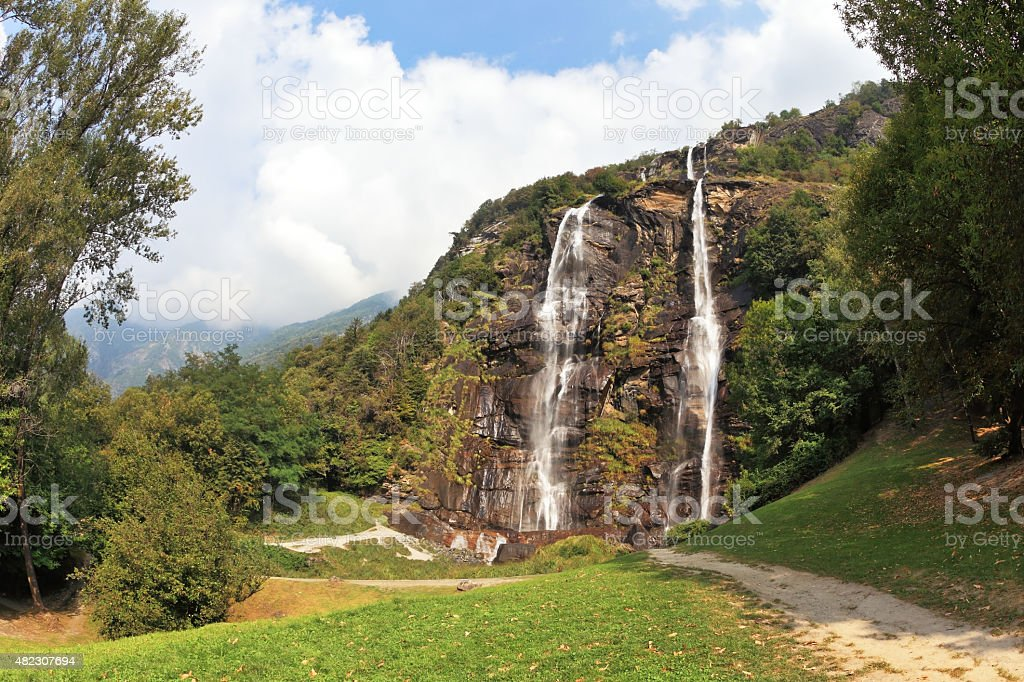 Twin Falls in the mountains. Hiking mountain trails stock photo