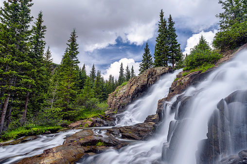 The Twin Falls are located in the Yankee Boy Basin, Yankee Boy Basin is an alpine basin in Ouray County, southwestern Colorado. It is in the San Juan Mountains, protected within Uncompahgre National Forest. This is a popular 4x4 trail in the Rookie Mountains.
