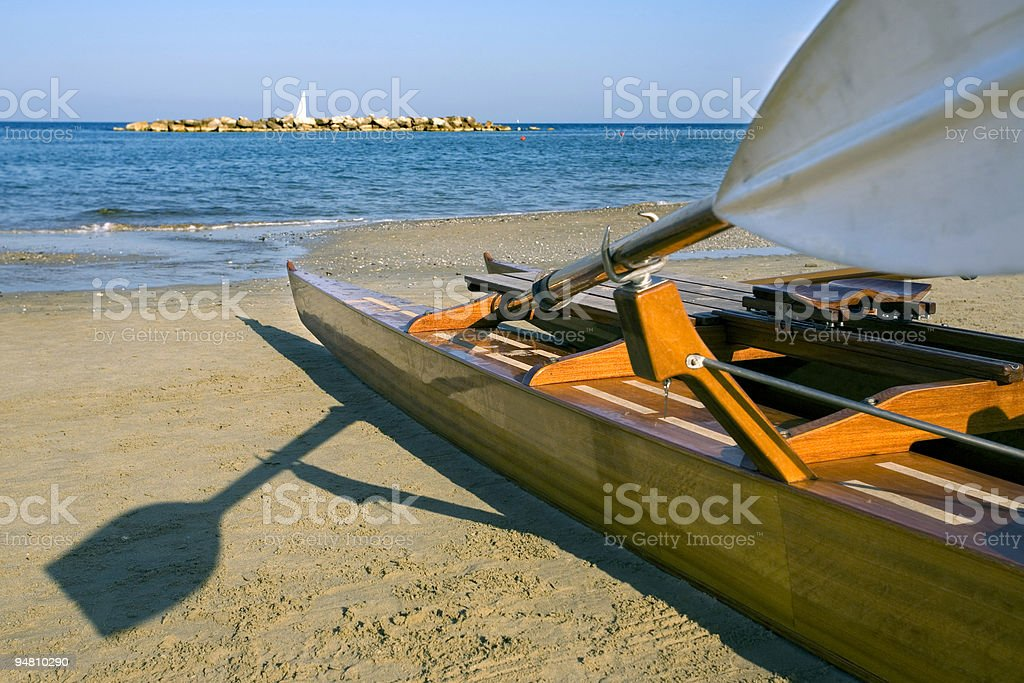 twin hulled boat on the adriatic royalty-free stock photo