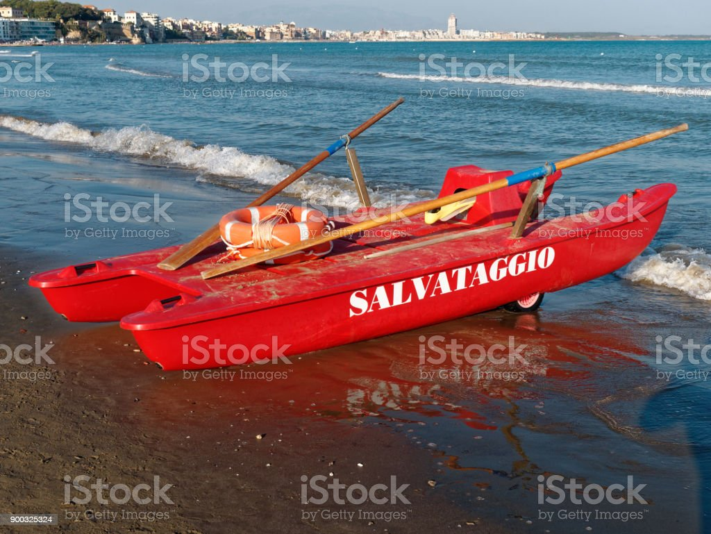 Twin Hulled Rowboat Sea Rescue Offshore stock photo