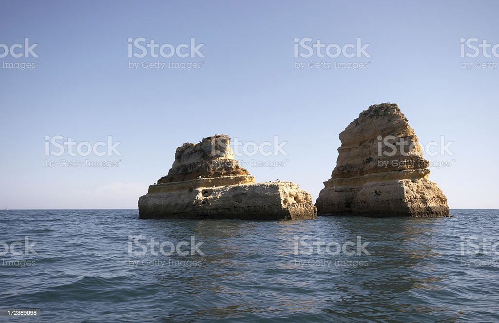 Twin Island cliffs at Lagos in Portugal royalty-free stock photo