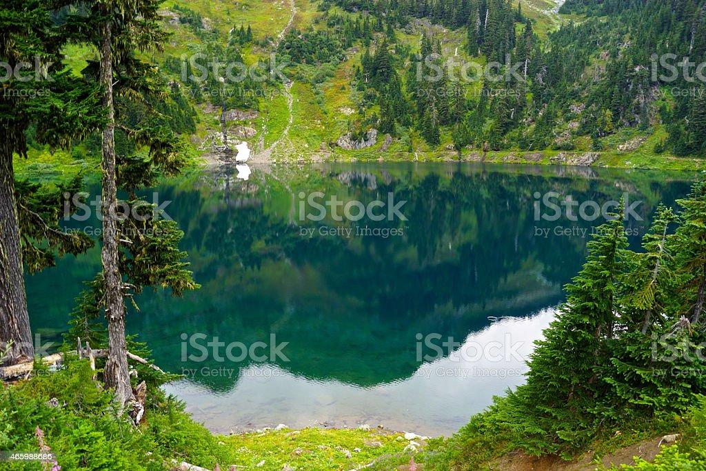 Twin Lake Green Mirror stock photo