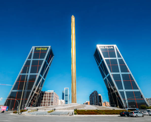 Twin leaning modern office blocks, Puerta de Europa, in the Plaza de Castilla in Madrid, Spain stock photo