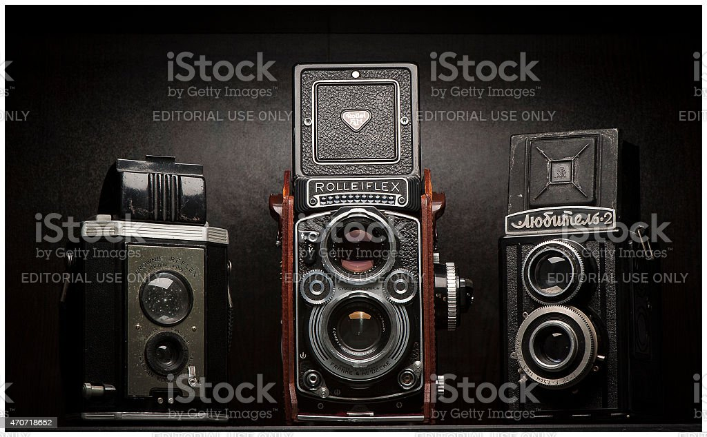 Twin Lens Reflex Vintage Film Cameras stock photo
