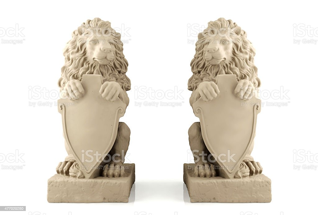 Twin lion statue with blank signboard stock photo