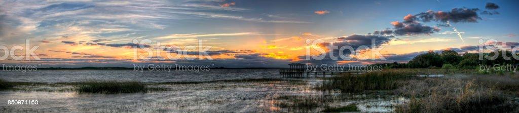 Twin Oaks Conservation Area Sunset Panorama stock photo